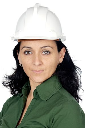 attractive lady architect a over white background photo