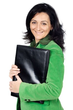 attractive business woman over a white background photo
