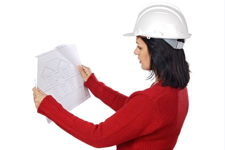 attractive young person architect a over white background photo