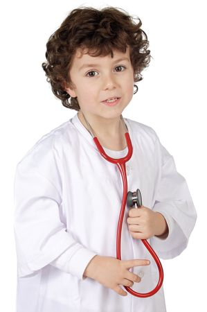 Adorable future doctor a over white background Stock Photo - 729267