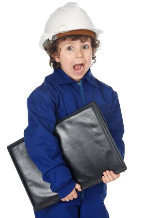 Adorable boy worker with surprise gesture a over white background photo