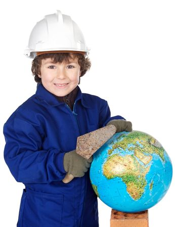 designer baby: Adorable future builder constructing the world a over white background Stock Photo
