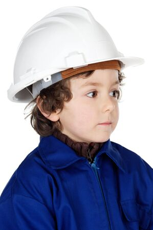 Adorable working future a over white background photo