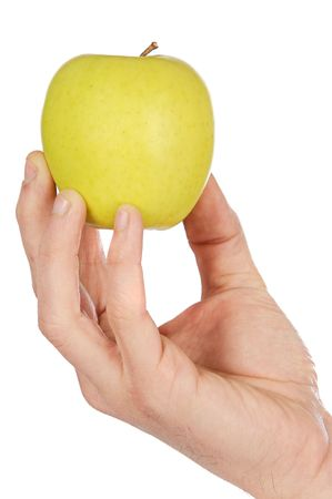 weightless: Apple in a hand low in calories a over white background Stock Photo