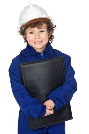 adorable future builder with folder and helmet photo