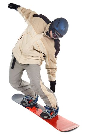 a photo of a snowboarder a over white background photo