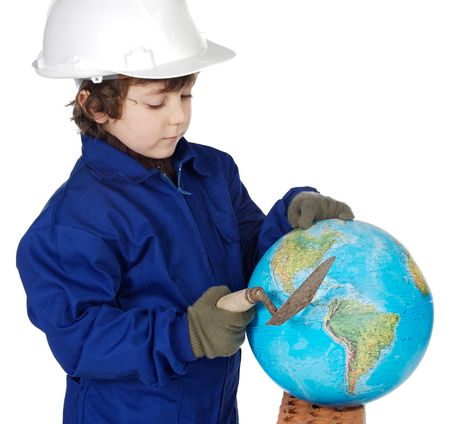 constructing: Adorable future builder constructing the world a over white background Stock Photo