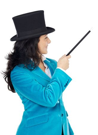 attractive business woman with a magic wand and hat a over white background Stock Photo - 741706