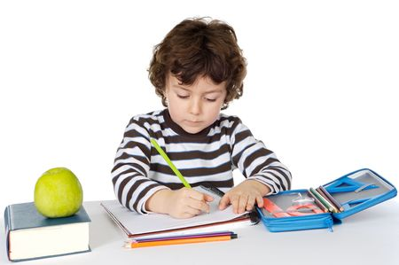 adorable boy studying a over white background photo