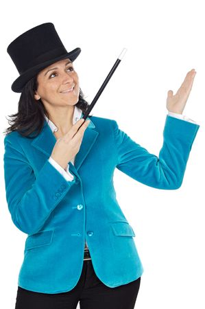 attractive business woman with a magic wand and hat a over white background Stock Photo - 746471