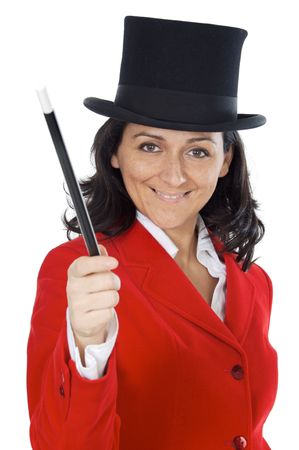 attractive business woman with a magic wand and hat a over white background Stock Photo - 746466