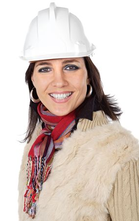 attractive lady architect a over white background Stock Photo - 746467