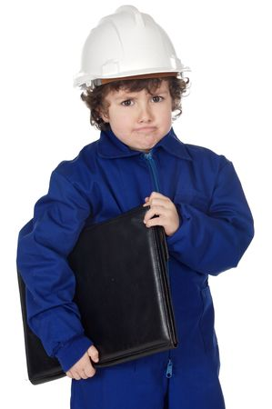 Adorable future builder gotten upset with folder a over white background photo