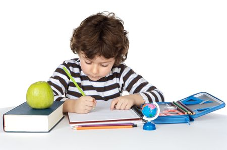 adorable child studying a over white background photo