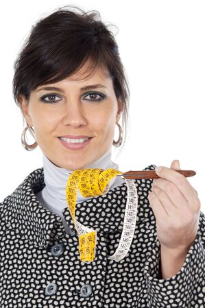attractive girl with  tape measure in the hand a over white background Stock Photo - 753553