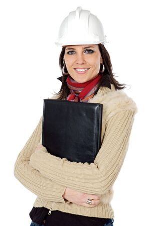 autocad: attractive young person architect a over white background