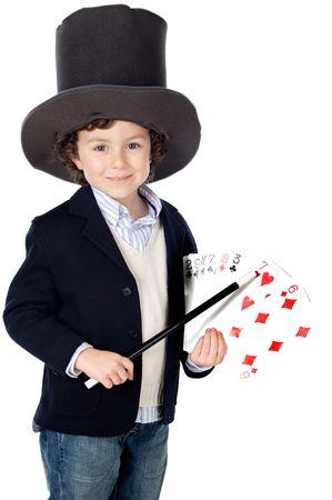 wahrsager: Adorable Kindkleid von illusionist mit �berschuss-Wei�hintergrund des Hutes a Lizenzfreie Bilder