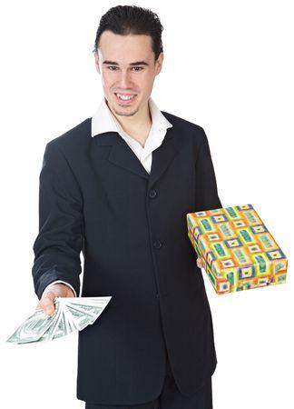 remuneraci�n: fondo atractivo del blanco del excedente del hombre de negocios a de la persona joven