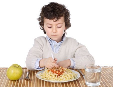Adorable child hungry at the time of eating a over white background Stock Photo - 764163