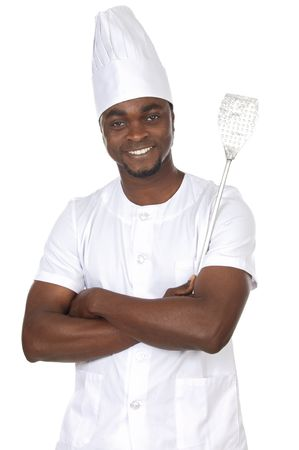 attractive cook african a over white background photo