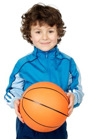 adorable child playing the basketball a over white background photo