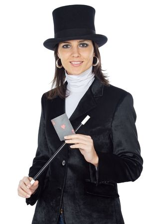 attractive business woman with a magic wand and hat a over white background photo