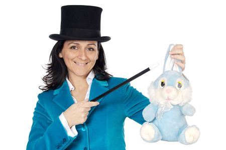 attractive business woman with a magic wand and hat a over white background Stock Photo - 775328