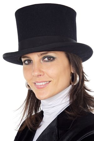 attractive business woman with hat a over white background photo