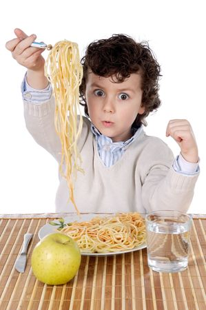 Adorable child hungry at the time of eating a over white background Stock Photo - 775316