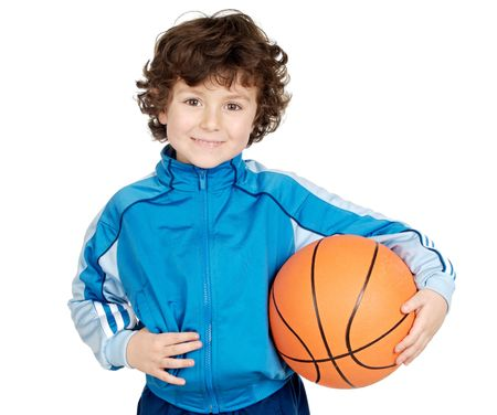 adorable child playing the basketball a over white background Stock Photo - 774935