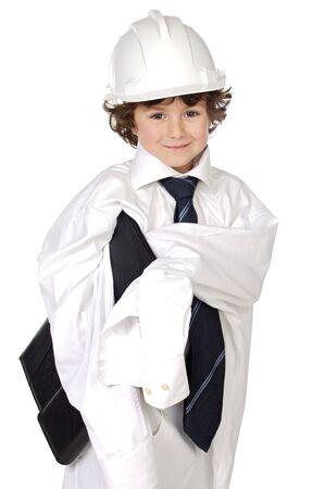 designer baby: adorable future architect over a white background