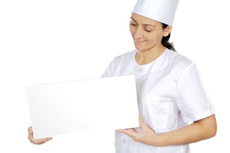 hints: happy attractive cook woman whit slate a over white background