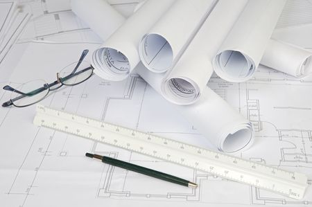 a photo of blue prints home Plans Stock Photo - 774924