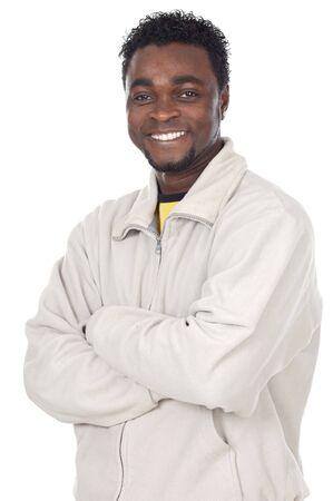 remuneraci�n: African atractivo hombre de negocios a en fondo blanco  Foto de archivo