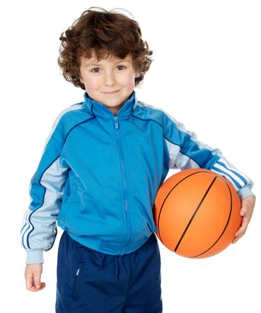 adorable child playing the basketball a over white background Stock Photo