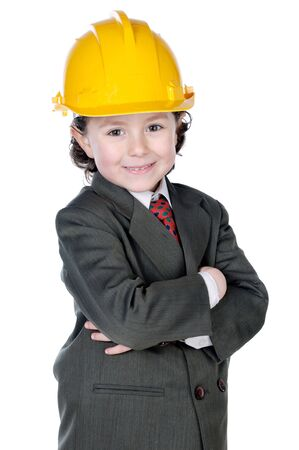 adorable future architect over a white background photo