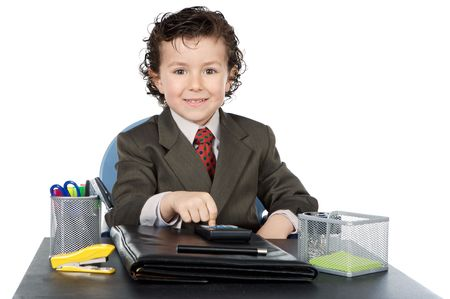 adorable future businessman in your office a over white background photo