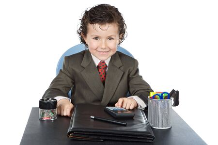adorable future businessman in your office a over white background