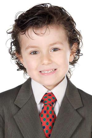 adorable future businessman a over white background photo