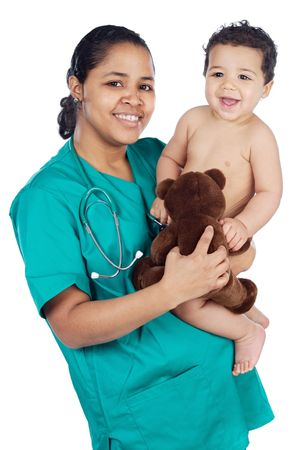Adorable doctor with a baby in her arms a over white background photo