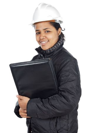 autocad: attractive lady architect a over white background Stock Photo