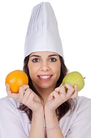 attractive cook woman a over white background Stock Photo - 808585