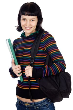 attractive girl student a over white background Stock Photo - 808588