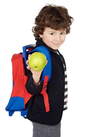 adorable boy student with knapsack and apple a over white background Stock Photo - 808599