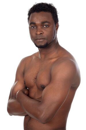 ringside: young African boy in defensive attitude a over white background