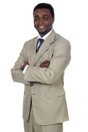 remuneraci�n: fondo africano atractivo del blanco del excedente del hombre de negocios a Foto de archivo