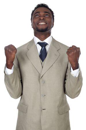 remuneraci�n: Atractivo hombre de negocios celebrando un triunfo a en fondo blanco  Foto de archivo