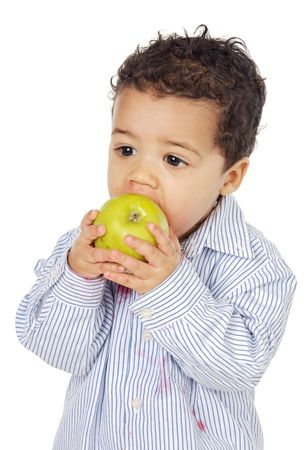 adorable  eating an apple a over white background Stock Photo - 842674