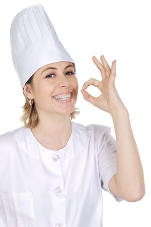 happy attractive cook woman becoming lean the fingers a over white background photo