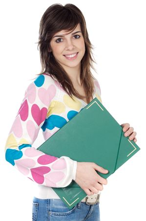 attractive girl student a over white background Stock Photo - 842655